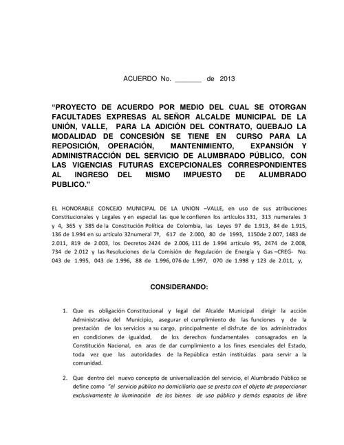 PROYECTO DE ACUERDO ANDILUM Y VIGENCIAS FUTURAS