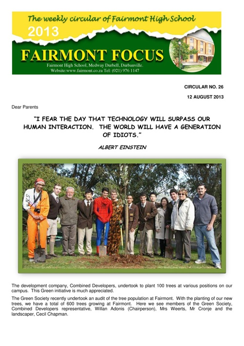 Fairmont Focus 26: 12 August 2013