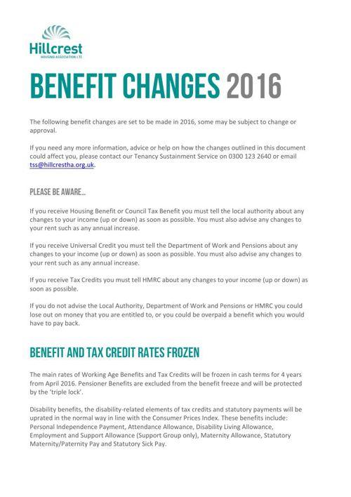 Benefit Changes Booklet 24.02.16