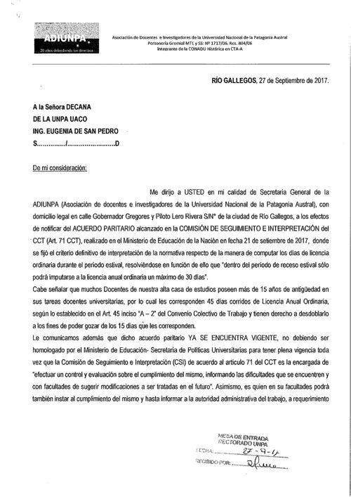Nota Acuerdo Paritario - UACO
