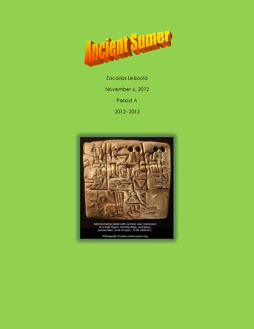 Copy of 6th Grade Ancient Sumer Flip Books