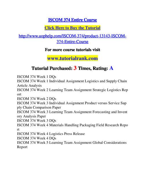 ISCOM 374 Course Success Begins / tutorialrank.com