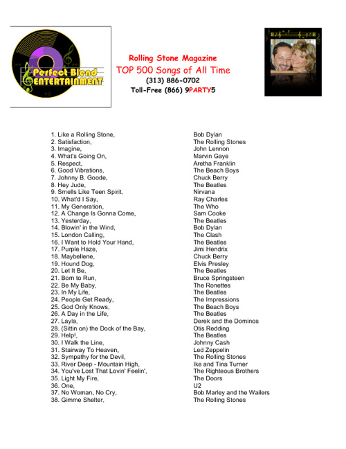 Rolling Stone Magazine Top 500 Songs