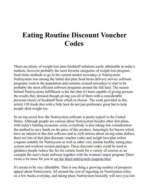 Discounts on Nutrisystem