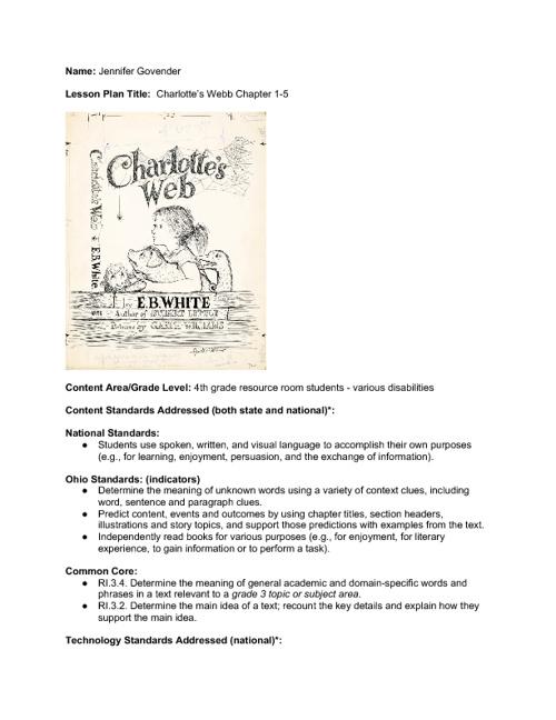 Charlotte's Webb Lesson
