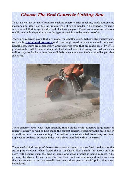 Choose The Best Concrete Cutting Saw