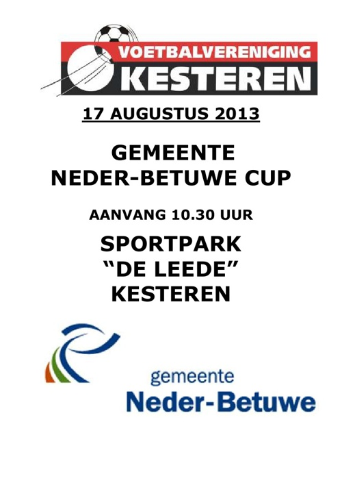 Programma Gemeente Neder-Betuwe Cup 2013