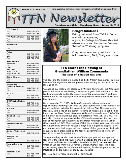 TFN Newsletter - Aug. 5, 2011