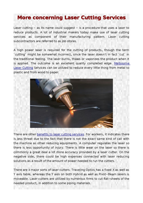 More concerning Laser Cutting Services