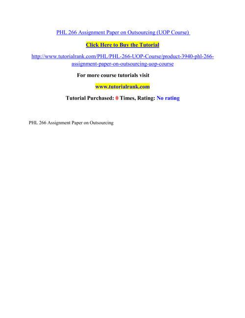 PHL 266 Course Extraordinary Success/ tutorialrank.com