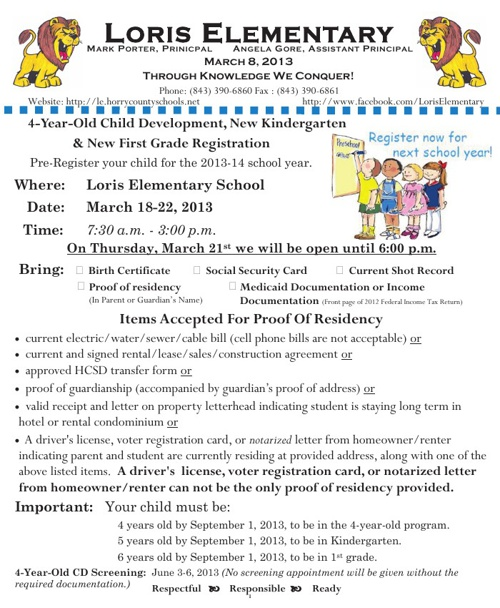 Loris Elementary Newsletter 3-8-12