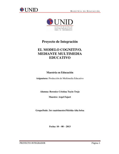 EL MODELO COGNITIVO. MEDIANTE MULTIMEDIA EDUCATIVO