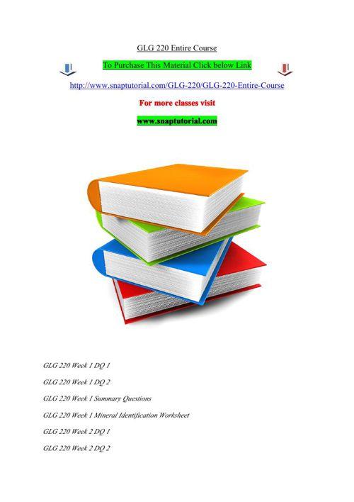 GLG 220 Entire Course