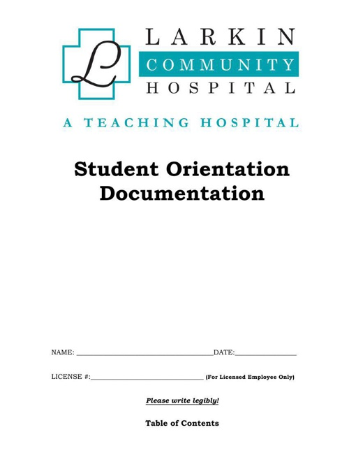 General Orientation Documentation Packet - Students