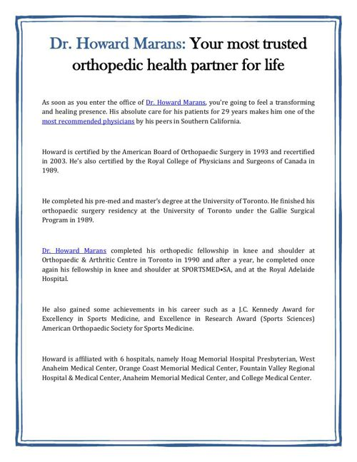 Dr. Howard Marans: Your most trusted orthopedic health partner f