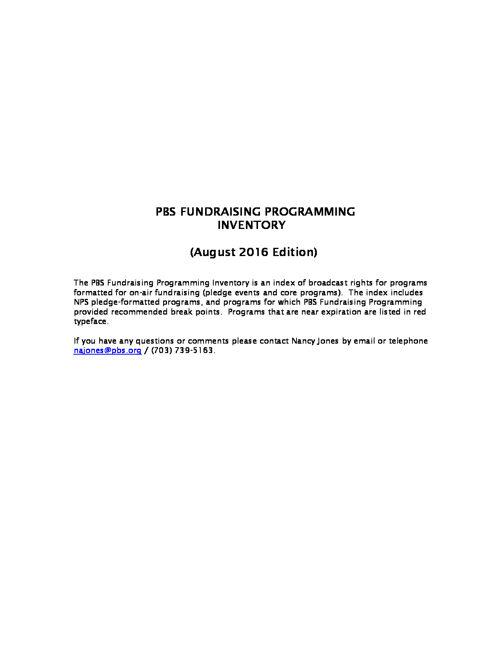 August 2016 Program Inventory