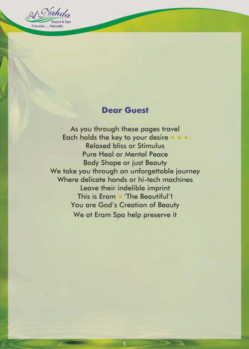 A spa menu of one of the best spa service providers in oman