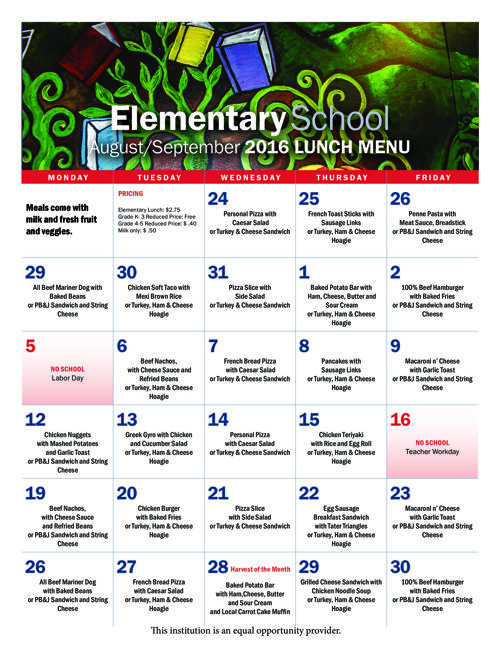 School Menus for August and September