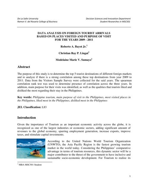 MANSTAT Research Paper on Tourism (Bayot, Lingat, Sumayo)