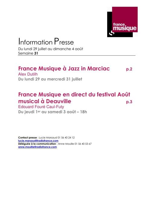 Programmes de France Musique | Semaine du 29 juillet au 5 août