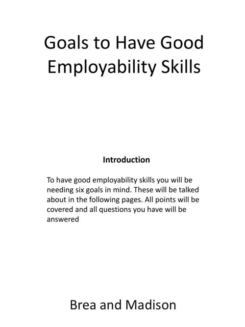 Goals to Have Good Employability Skills