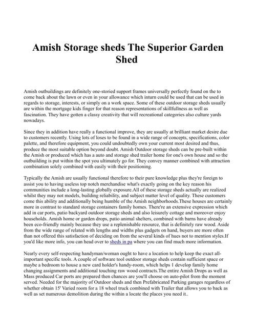 Amish Storage sheds The Superior Garden Shed