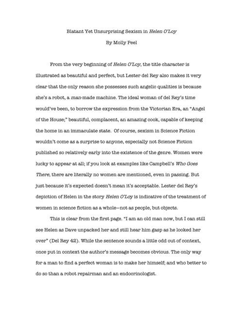 Helen O'Loy Essay