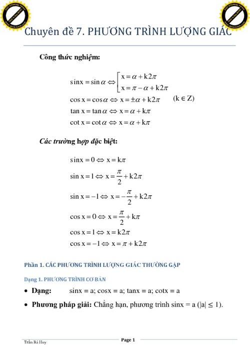 CĐ7. Phương trình lượng giác (phần 1)