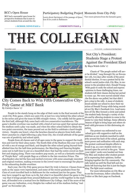 The Collegian: November 2016
