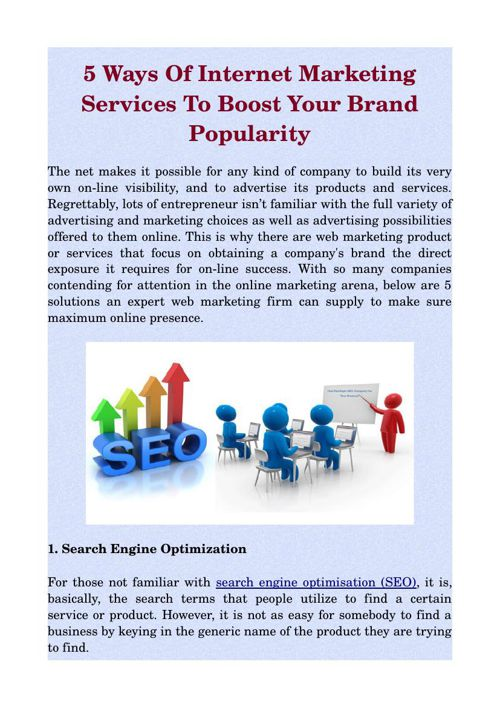 5 Ways Of Internet Marketing Services To Boost Your Brand Popula