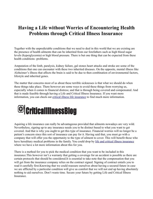 Having a Life without Worries of Encountering Health Problems th