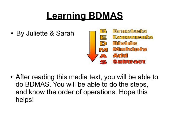 Learning BDMAS