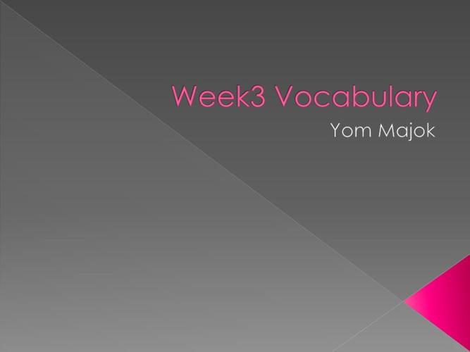 Week 3 vocabulary