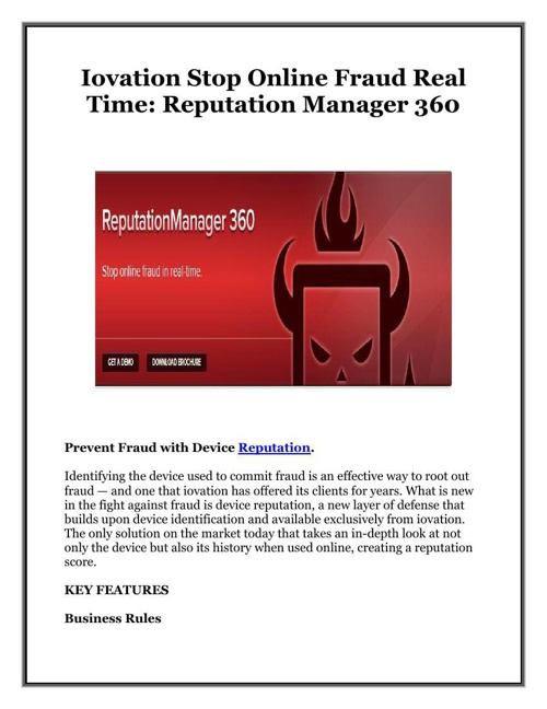 Iovation Stop Online Fraud Real Time Reputation Manager 360