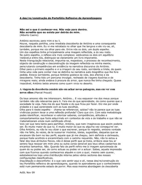 A Des_re_construção do Portefólio Reflexivo de Aprendizagens