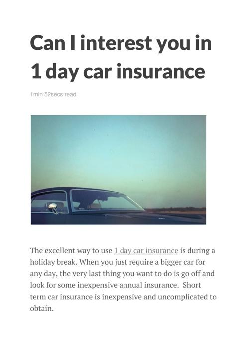 1 Day Car Insurance