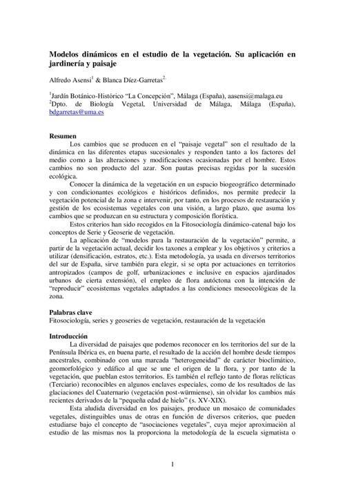 Modelos dinámicos en el estudio de la vegetación