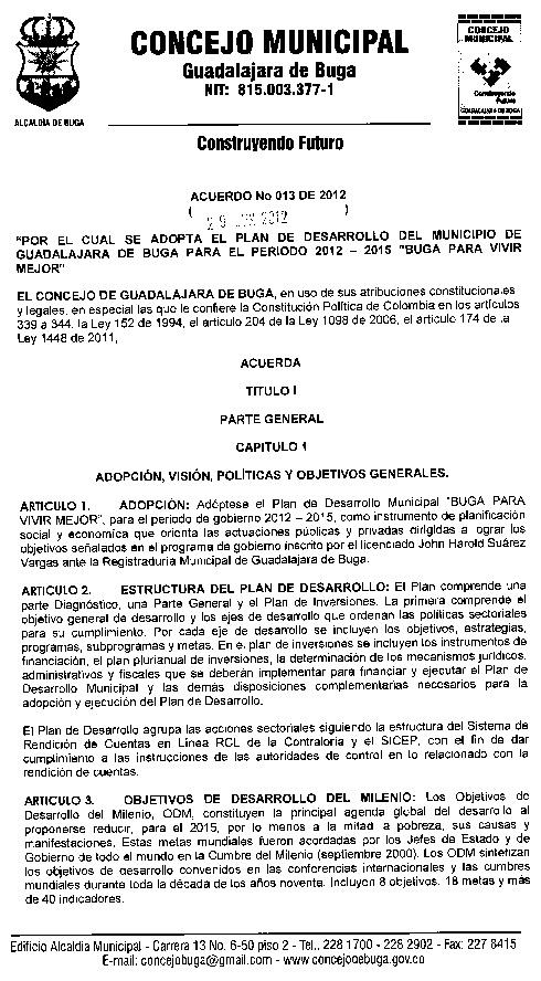 Acuerdo 013 - 2012 - Plan de Desarrollo Municipal