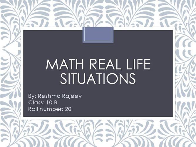 math real life situation