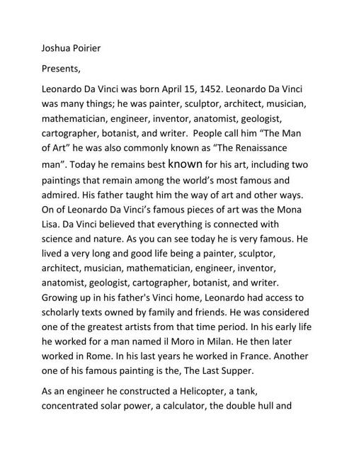 Leonardo Da Vinci - A history