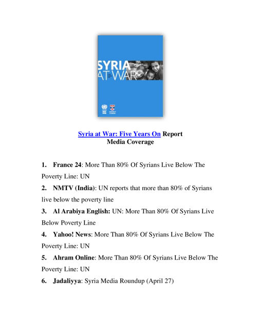 ESCWAinTheNews-SyriaFiveYears-Report-EnglishClippings