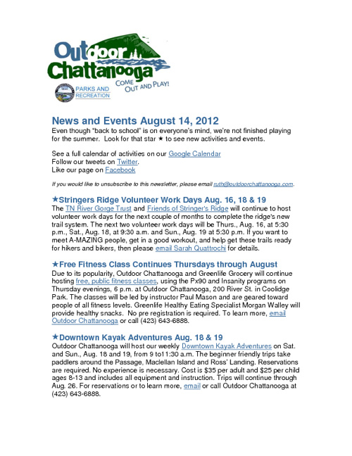 Outdoor Chattanooga News and Events Aug. 14, 2012