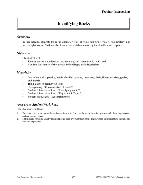 Rocks Worksheets