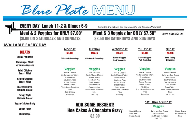Blueplate Menu