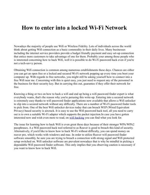 How to enter into a locked Wi-Fi Network