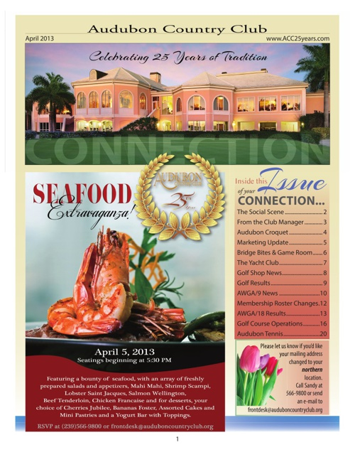 April 2013 Audubon Country Club of Naples Newsletter