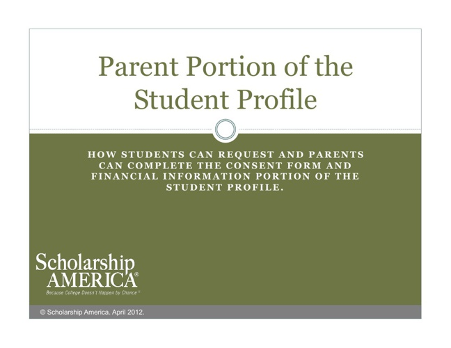 Parent Portion of the Student Profile