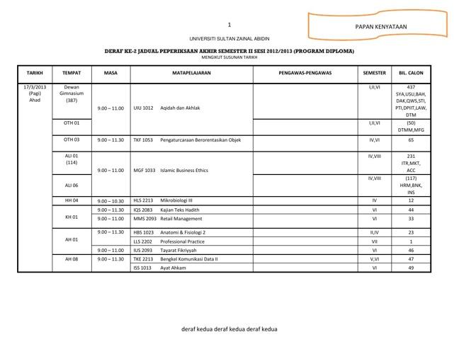 Deraf Kedua Jadual Peperiksaan Akhir Diploma Untuk Siswa_Siswi