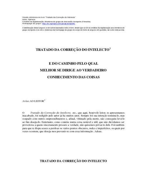 Tratado da correcao do intelecto _ Spinoza
