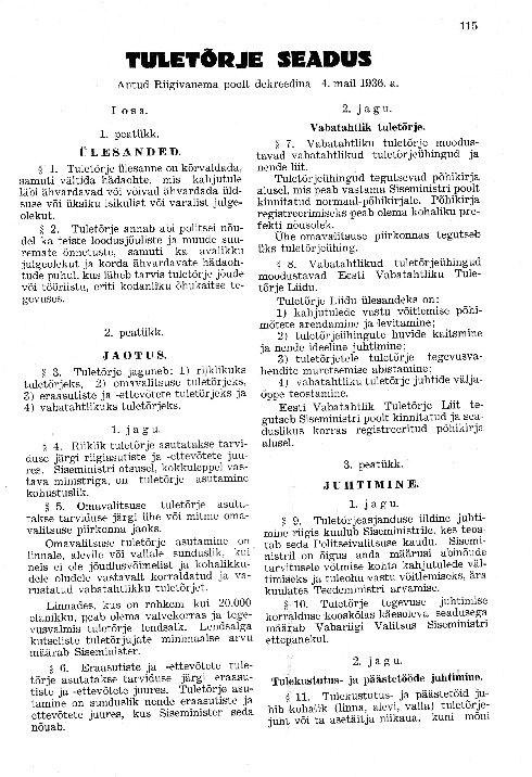 1936 a. Tuletõrjeseadus
